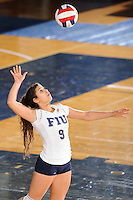 20 November 2008:  FIU setter Natalia Valentin (9) serves during the FIU 3-1 victory over South Alabama in the first round of the Sun Belt Conference Championship tournament at FIU Stadium in Miami, Florida.