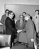 In this photo released by the United States Department of State, US Secretary of State Dr. Henry A. Kissinger welcomes a delegation from the Arab Republic of Egypt to Washington, DC on April 28, 1975.  From left to Right: Baher El-Sadek, First Secretary, Embassy of the Arab Republic of Egypt; Secretary Kissinger; HE Ashraf Ghorbal, Ambassador of the Arab Republic of Egypt; Mostafa Rateb Abdel-Wahab, Minister, Embassy of the Arab Republic of Egypt; Dr. Gamal El-Oteify, Deputy Speaker of the Assembly, Head of Delegation; Thomas Murphy, US State Department escort.<br /> Credit: Department of State via CNP