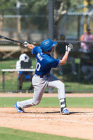 Los Angeles Dodgers infielder Devin Mann (80) hits a home run during an Instructional League game against the Oakland Athletics at Camelback Ranch on September 27, 2018 in Glendale, Arizona. (Zachary Lucy/Four Seam Images)