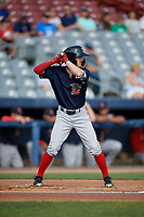 Lowell Spinners center fielder Dylan Hardy (17) at bat during a game against the Connecticut Tigers on August 26, 2018 at Dodd Stadium in Norwich, Connecticut.  Connecticut defeated Lowell 11-3.  (Mike Janes/Four Seam Images)