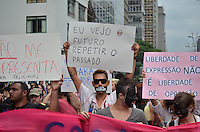 SAO PAULO, SP, 16 DE MARÇO DE 2013 - ATO DE REPÚDIO CONTRA O DEPUTADO MARCOS FELICIANO: Centenas de manifestantes participaram de um ato de repúdio à eleição do Deputado Marcos Feliciano para presidência da Comissão de Direitos Humanos e Minorias do Congresso Nacional. O protesto foi realizado na tarde deste sábado (16) nas Av. Paulista e Consolação em São Paulo. FOTO: LEVI BIANCO - BRAZIL PHOTO PRESS