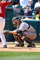 Louisville Bats catcher Kyle Skipworth (30) sets up for a pitch during a game against the Buffalo Bisons on May 2, 2015 at Coca-Cola Field in Buffalo, New York.  Louisville defeated Buffalo 5-2.  (Mike Janes/Four Seam Images)