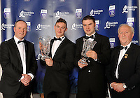 At the Bord G&aacute;is Energy Munster GAA Sports Star of the Year Awards in The Malton Hotel, Killarney on Saturday night were front from left, Dave Kirwan, Managing Director, Bord Gais Energy, James O'Donoghue, Legion, Killarney,  Footballer of the Year award, Richie McCarthy, Limerick, Hurler of the Year award  and Robert Frost, Chairman, Munster GAA.<br /> Picture by Don MacMonagle<br /> <br /> PR photo from Munster Council