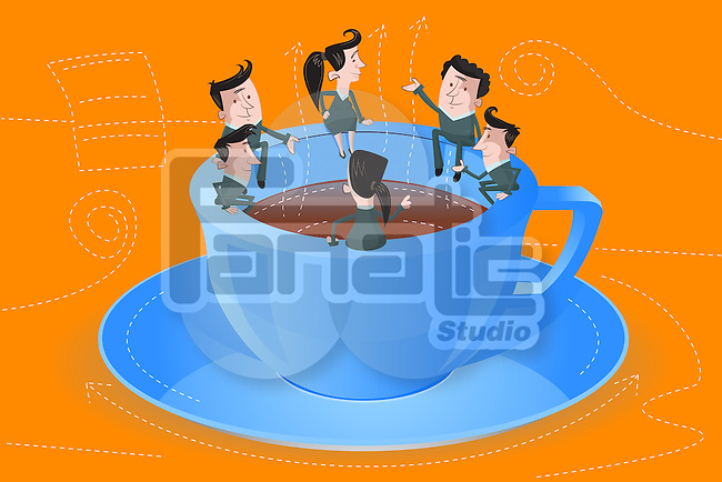 Illustrative image of businesspeople sitting on coffee cup representing board meeting