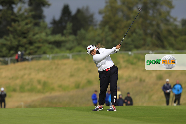 Lizette Silas of Team USA on the 2nd during Day 2 Fourball at the Solheim Cup 2019, Gleneagles Golf CLub, Auchterarder, Perthshire, Scotland. 14/09/2019.<br /> Picture Thos Caffrey / Golffile.ie<br /> <br /> All photo usage must carry mandatory copyright credit (© Golffile   Thos Caffrey)