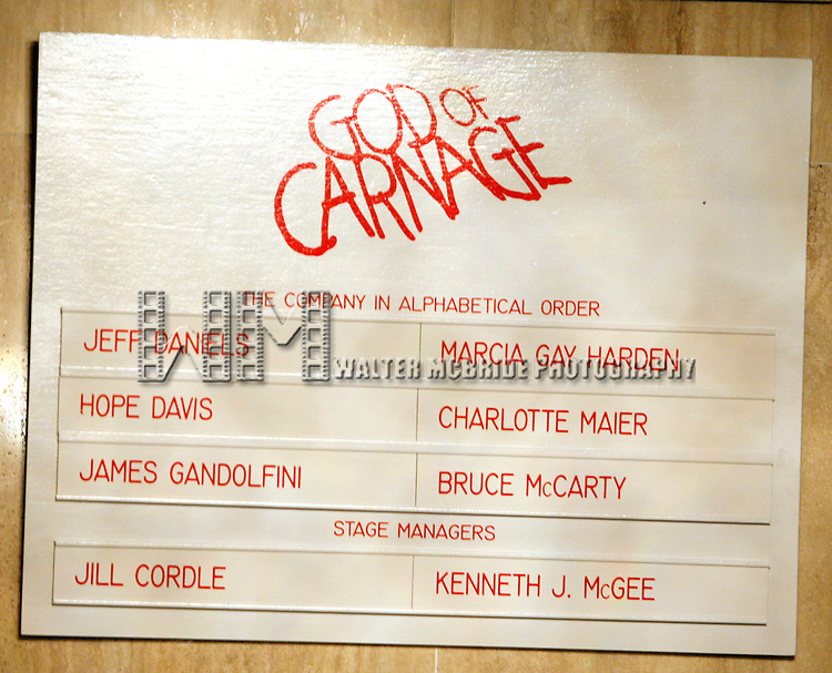 Cast Board<br /> for  the Opening Night Performance Curtain Call for GOD OF CARNAGE at The Bernard B. Jacobs Theatre in New York City.<br /> March 22, 2009