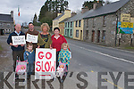 Sean Browne, Olivia Wilton, Pat OCallaghan, James Murrane, Alison Wilton and Nikola ODonnell who are protesting about the lack of a speed limit outside their houses at the Crossroads, Kenmare..