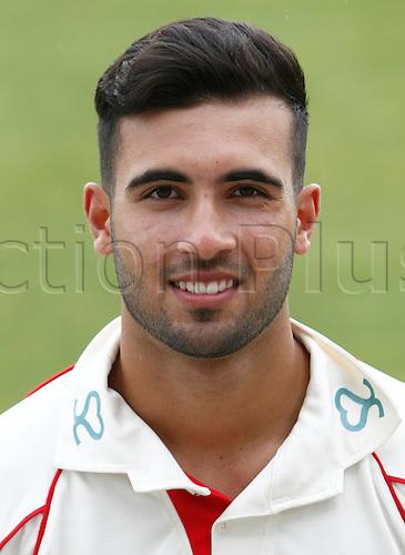 08.04.2016. Old Trafford, Manchester, England. Lancashire County Cricket Press Call. Lancashire bowler Saqib Mahmood.