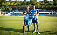 Wycombe Wanderers Manager Gareth Ainsworth welcomes new signing Nathan Tyson during the Friendly match between Wycombe Wanderers and AFC Wimbledon at Adams Park, High Wycombe, England on 25 July 2017. Photo by Andy Rowland.