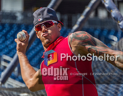 19 September 2015: Washington Nationals infielder Yunel Escobar warms up prior to a game against the Miami Marlins at Nationals Park in Washington, DC. The Nationals defeated the Marlins 5-2 in the third game of their 4-game series. Mandatory Credit: Ed Wolfstein Photo *** RAW (NEF) Image File Available ***