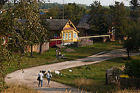 Novy Gorky, Ivanova Region, Russia, 05/08/2012..A couple walk past goats grazing in a settlement near Novy Gorky, some 200 miles east of Moscow.