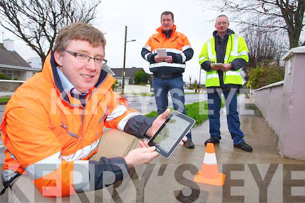Pictured at Castle Demesne on Friday doing Kerry County Council Pilot Scheme for  water meter survey from l-r: Diarmuid Reilly (Project Manager Kerry County Council) Tony Flaherty (Technician) and Terence Reidy (Surveyor).