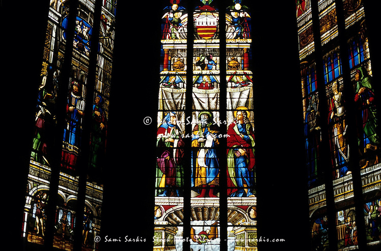 Renaissance stained glass window in the Auch Cathedral, Auch, France.