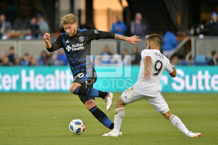San Jose, CA - Saturday June 09, 2018: Yeferson Quintana, Diego Rossi during a Major League Soccer (MLS) match between the San Jose Earthquakes and Los Angeles Football Club at Avaya Stadium.