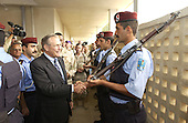 United States Secretary of Defense Donald H. Rumsfeld (center) shakes hands with Iraqi National Guard members near Kirkuk, Iraq, on October 10, 2004.  Rumsfeld is in Iraq to show support for the coalition troops and meet with Iraqi officials.  <br /> Mandatory Credit: James M. Bowman / DoD via CNP