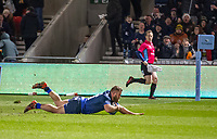 3rd January 2020; AJ Bell Stadium, Salford, Lancashire, England; English Premiership Rugby, Sale Sharks versus Harlequins; Akker van der Merwe  of Sale Sharks  scores their first try to make the score 8-7 to Sale - Editorial Use