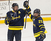 Hampus Gustafsson (Merrimack - 20), Sami Tavernier (Merrimack - 25) - The visiting Merrimack College Warriors defeated the Boston College Eagles 6 - 3 (EN) on Friday, February 10, 2017, at Kelley Rink in Conte Forum in Chestnut Hill, Massachusetts.