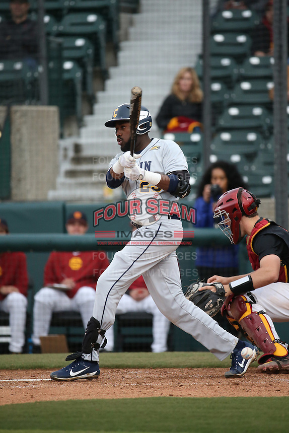 Jamar Criss #23 of the Coppin State Eagles bats against the Southern California Trojans at Dedeaux Field on February 18, 2017 in Los Angeles, California. Southern California defeated Coppin State, 22-2. (Larry Goren/Four Seam Images)