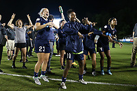 Cary, North Carolina  - Wednesday May 24, 2017: Elizabeth Eddy, Kristen Hamilton, Taylor Smith, and Jessica McDonald try to distract a teammate on camera after a regular season National Women's Soccer League (NWSL) match between the North Carolina Courage and the Sky Blue FC at Sahlen's Stadium at WakeMed Soccer Park. The Courage won the game 2-0.