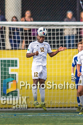 24 September 2016: University of Vermont Catamount Midfielder Mikel Kabala, a Sophomore from Kinshasha, DR of Congo, takes a header during game action against the Dartmouth College Big Green at Virtue Field in Burlington, Vermont. The teams played to an overtime 1-1 tie in front of an Alumni Weekend crowd of 1,710 fans. Mandatory Credit: Ed Wolfstein Photo *** RAW (NEF) Image File Available ***