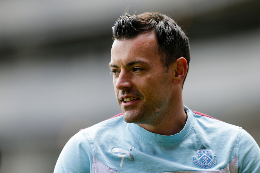 Burnley's Ross Wallace during the pre-match warm-up <br /> <br /> Photographer Craig Mercer/CameraSport<br /> <br /> Football - Barclays Premiership - West Ham United v Burnley - Saturday 2nd May 2015 - Boleyn Ground - London<br /> <br /> &copy; CameraSport - 43 Linden Ave. Countesthorpe. Leicester. England. LE8 5PG - Tel: +44 (0) 116 277 4147 - admin@camerasport.com - www.camerasport.com