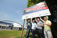 SCHAATSEN: HEERENVEEN: 06-06-2013, IJSSTADION THIALF, actiegroep thialf-moetblijven.nl te gast in Thialf, v.l.n.r. Bas Altena, Peter van Gool, Hedser Kok, Remco Folkerts, ©foto Martin de Jong