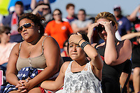 Fans react during the penalty kick shootout during the finals of the 2011 FIFA Women's World Cup prior to a Women's Professional Soccer (WPS) match between Sky Blue FC and the Western New York Flash at Yurcak Field in Piscataway, NJ, on July 17, 2011.