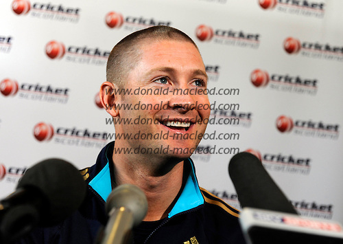 Scotland V Australia cricket preview and training at Grange CC, Edinburgh - stand-in Australia capt Michael Clarke speaks at a Press Conference at Grange CC, in advance of tomorrow's ODI against Scotland - Picture by Donald MacLeod 27.08.09