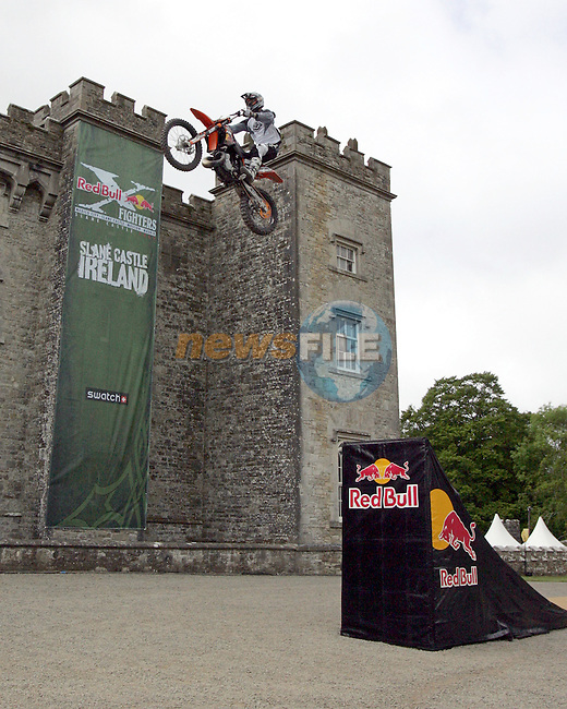 Lord Henry Mt Charles celebrates his birthday with a bash, The Lord of the manner has the Red Bull XXX fighters, Fighting it out in the arena at Slane Castle. Pictured is Lord Henry Mt Charles in the foreground with FMX Judge Jimmy Verbergh testing out the track that extends 100x120 meters from the castle door down into the natural amphitheatre, ahead of the Red Bull X-Fighters event taking place on saturday evening 26th May..Photo: Newsfile/Fran Caffrey..More information from RED BULL Contact Killian/'Eamonn on 086-7988540 / 0867988508.