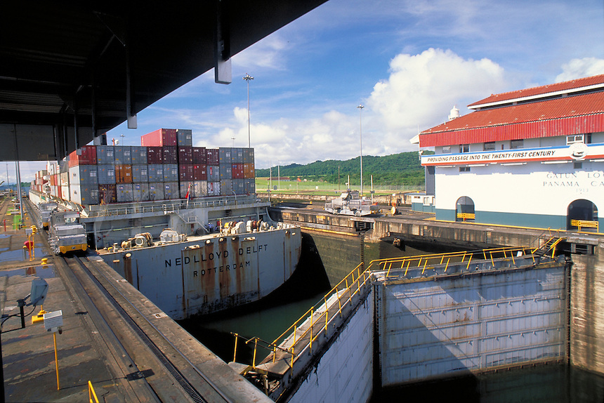 Container ships transit the Panama Canal. Panama.