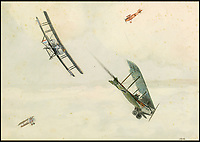 BNPS.co.uk (01202 558833)<br /> Pic: Sworders/BNPS<br /> <br /> '1916'<br /> <br /> An amazing set of watercolours painted whilst serving on the Western Front by Biggles creator W.E.Johns have emerged for sale.<br /> <br /> W.E.Johns was a bomber pilot in the fledgling RFC during the Great War, and his keen eye for detail has recorded Sopwith Camels and Fokker Triplane's wheeling through the skies.<br /> <br /> He was shot down and captured in 1918, but after the conflict he re-joined the RAF before creating boys own hero  James 'Biggles' Bigglesworth in the 1930's.<br /> <br /> Sworders 27th June, Est &pound;1000.