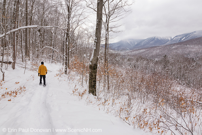 Snowshoeing along the Discovery Trail which is located along Kancamagus Highway (route 112) in Lincoln, New Hampshire USA, which is part of the White Mountain National Forest