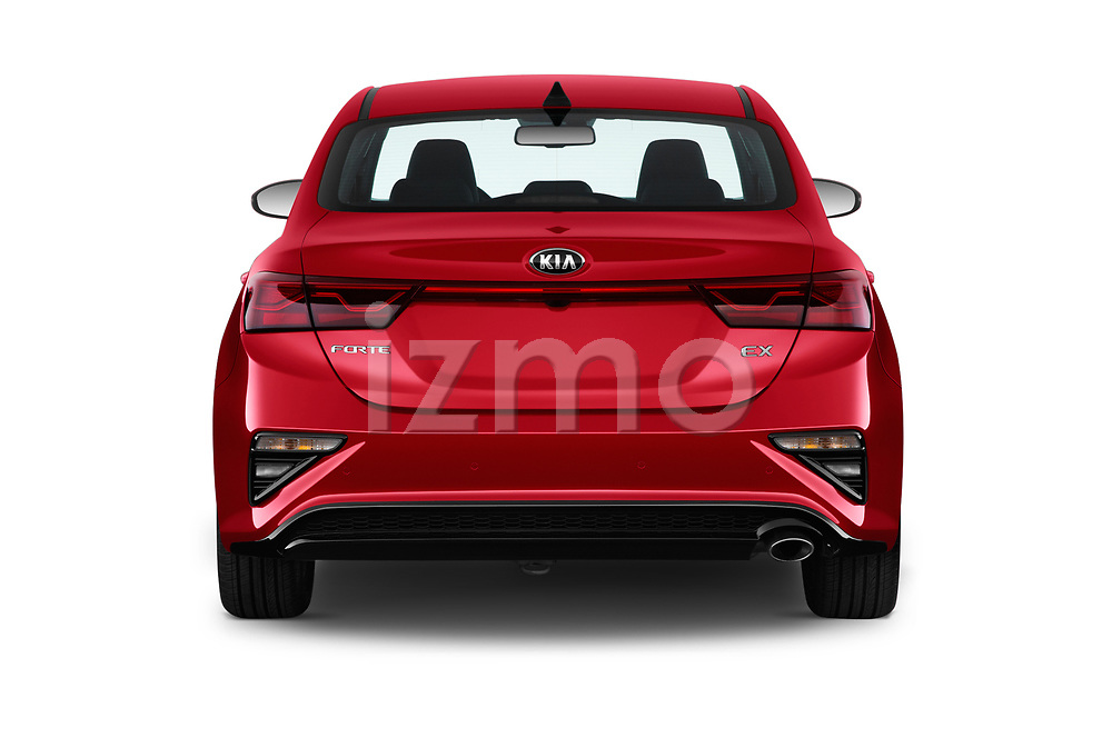 Straight rear view of a 2020 KIA Forte EX 4 Door Sedan stock images