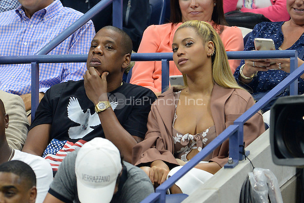 FLUSHING NY- SEPTEMBER 01: Jay Z and Beyonce seen watching Serena Williams Vs Vania King on Arthur Ashe Stadium at the USTA Billie Jean King National Tennis Center on September 1, 2016 in Flushing Queens. Credit: mpi04/MediaPunch