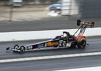 Feb 9, 2020; Pomona, CA, USA; NHRA top fuel driver Austin Prock during the Winternationals at Auto Club Raceway at Pomona. Mandatory Credit: Mark J. Rebilas-USA TODAY Sports