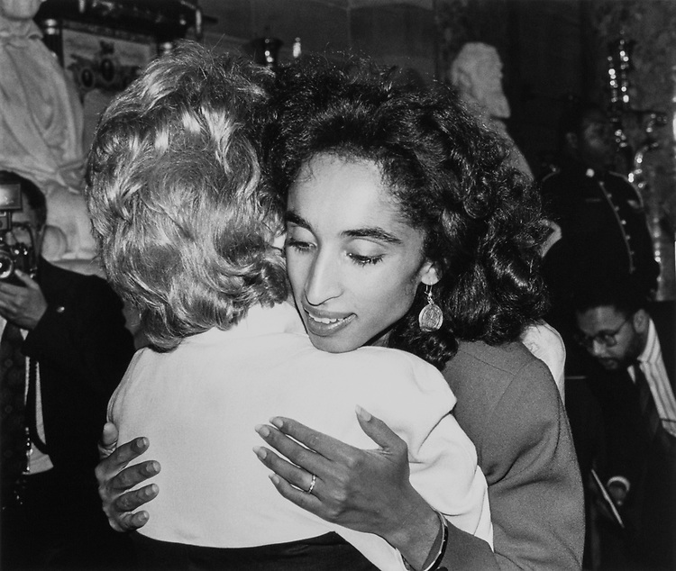 Rep. Lindy Boggs, D-La. comforting Alison Leland during Leland memorial on Sept. 18, 1989. (Photo by Laura Patterson/CQ Roll Call)