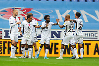 Nathan Dyer of Swansea City celebrates scoring the opening goal with team mates during the Sky Bet Championship match between Wigan Athletic and Swansea City at The DW Stadium in Wigan, England, UK. Saturday 2 November 2019