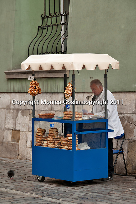 A pretzel vendor in Krakow, Poland