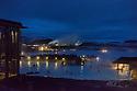 The Blue Lagoon at night, Grindavík, Reykjanes Peninsula, Southwestern Iceland .