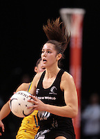 23.09.2012 Silver Ferns Kayla Cullen in action during the third netball test match between the Silver Ferns and the Australian Diamonds at CBS Canterbury Arena in Christchurch. Mandatory Photo Credit ©Michael Bradley.