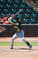 Ivan Castillo (12) of the Lynchburg Hillcats at bat against the Winston-Salem Dash at BB&T Ballpark on August 2, 2015 in Winston-Salem, North Carolina.  The Hillcats defeated the Dash 8-3.  (Brian Westerholt/Four Seam Images)