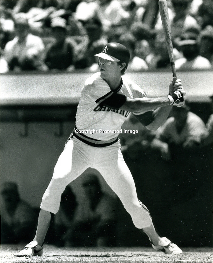 Oakland Athletic's Bruce Bochte,(hint, good hitter, not to be confused with the manger of the Giants).1985 (Photo/Ron Riesterer)