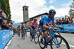 J.J. Rojas (ESP) Movistar Team leads the Maglia Rosa Richard Carapaz (ECU) and the rest of the peloton over the summit of the Madonna del Ghisallo during Stage 15 of the 2019 Giro d'Italia, running 232km from Ivrea to Como, Italy. 26th May 2019<br /> Picture: Fabio Ferrari/LaPresse | Cyclefile<br /> <br /> All photos usage must carry mandatory copyright credit (© Cyclefile | Fabio Ferrari/LaPresse)