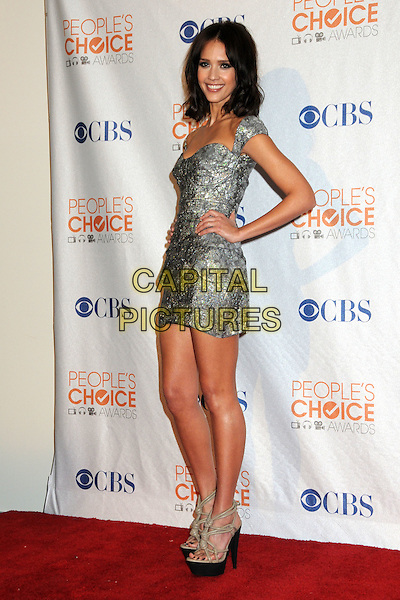 JESSICA ALBA  .36th Annual People's Choice Awards - Press Room held at the Nokia Theatre LA Live, Los Angeles, California, USA, 6th January 2010..full length grey gray silver mini dress hands on hips platform sandals beige print patterned pattern .CAP/ADM/BP.©Byron Purvis/Admedia/Capital Pictures