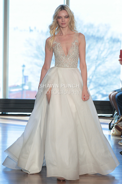 "Model Sinita walks runway in a ""Margaux"" bridal gown from the Rivini Spring Summer 2017 bridal collection by Rita Vinieris at The Standard Highline Room, during New York Bridal Fashion Week on April 15, 2016."