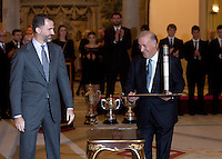Prince Felipe of Spain and Vicente del Bosque attend the National Sports Awards ceremony at El Pardo Palace. December 05, 2012. (ALTERPHOTOS/Caro Marin) NortePhoto