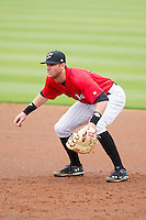 Kannapolis Intimidators first baseman Danny Hayes (32) on defense against the Greenville Drive at CMC-Northeast Stadium on April 6, 2014 in Kannapolis, North Carolina.  The Intimidators defeated the Drive 8-5.  (Brian Westerholt/Four Seam Images)