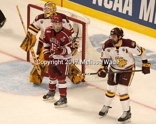 Hunter Miska (UMD - 35), Ryan Donato (Harvard - 16), Brenden Kotyk (UMD - 10) - The University of Minnesota Duluth Bulldogs defeated the Harvard University Crimson 2-1 in their Frozen Four semi-final on April 6, 2017, at the United Center in Chicago, Illinois.