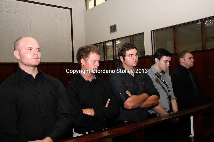 DURBAN - 27 August 2013 - Five men -- Blayne Shepard (left), Kyle Shepard, Andries van der Merwe, Dustin van Wyk and Grant Cramer appear in the Durban Magistrate's Court on charges of beating to death rugby fan Brett Williams at Kings Park Stadium following a Super Rugby XV match earlier this year. Allied Picture Press/APP