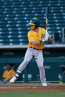 AZL Athletics Gold Kyle McCann (33) at bat during an Arizona League game against the AZL Cubs 1 at Sloan Park on June 20, 2019 in Mesa, Arizona. AZL Athletics Gold defeated AZL Cubs 1 21-3. (Zachary Lucy/Four Seam Images)